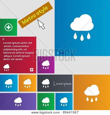 Weather Rain Icon Sign. Metro Style Buttons. Modern Interface Website Buttons With Cursor Pointer. V