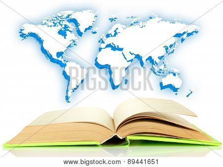Book with earth sketch isolated on white