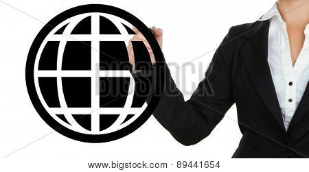 Business woman drawing earth isolated on white