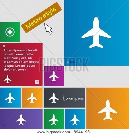 Airplane, Plane, Travel, Flight Icon Sign. Metro Style Buttons. Modern Interface Website Buttons Wit