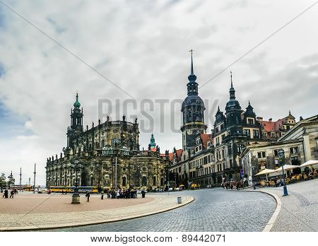 View On Hofkirche And Saxon Royal Palace In Dresden, Germany