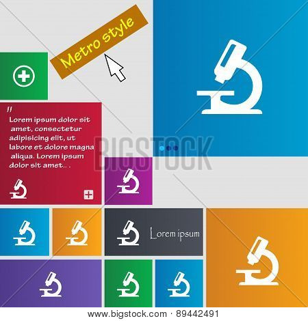 Microscope Icon Sign. Metro Style Buttons. Modern Interface Website Buttons With Cursor Pointer. Vec