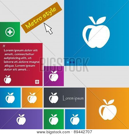Apple Icon Sign. Metro Style Buttons. Modern Interface Website Buttons With Cursor Pointer. Vector