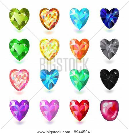 ?olored Heart Cut Gems Isolated On White Background