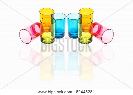 Colorful of plastic glass on white background.