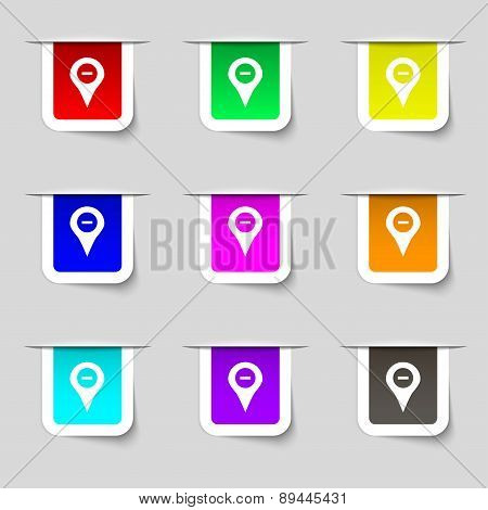 Minus Map Pointer, Gps Location Icon Sign. Set Of Multicolored Modern Labels For Your Design. Vector