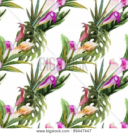 Tropical watercolor seamless pattern