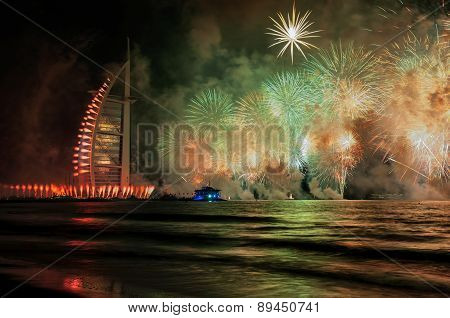 UAE 43rd National Day 2014 celebration and Fireworks show at Burj al Arab