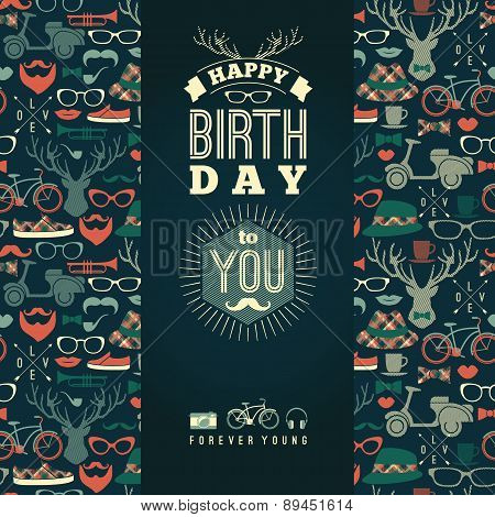 Happy Birthday Congratulations, Vintage Retro Background With Hipster Seamless Pattern.
