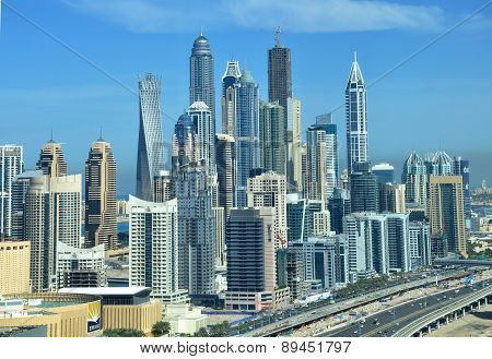 A skyline view of Dubai Marina showing the Marina