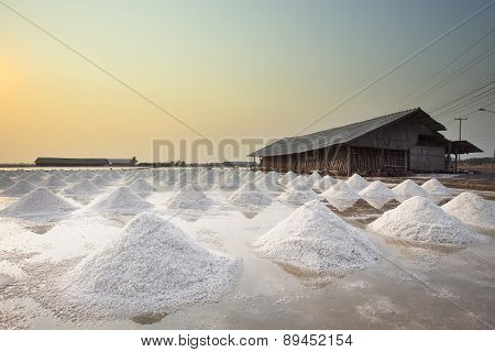 Heap Of Salted Harvesting In Orginal Tradition Salt Farm Industry Agricultural In Coastal Area Centr