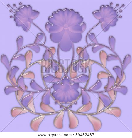 Flower Pattern Tile Design Glassy Effect