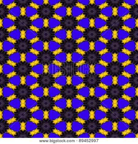 Seamless abstract symmetrical hexagonal structure of black dots connected with yellow lines on the b