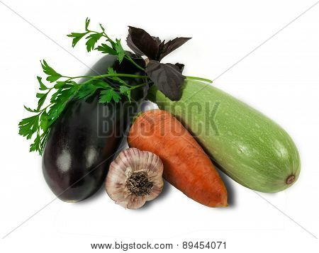 Eggplant, Carrot, Vegetable Marrow, Garlic