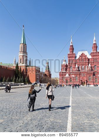 People Walk On Red Square