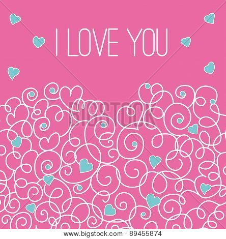 Pink greeting card with floral heart shape. I love You sign