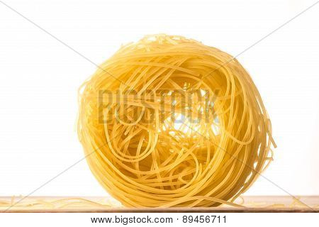 One Ball Of Angel's Hair Pasta On White Background