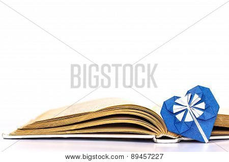 Open book with blue paper heart isolated on white background