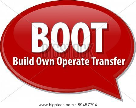 word speech bubble illustration of business acronym term BOOT Build Own Operate Transfer