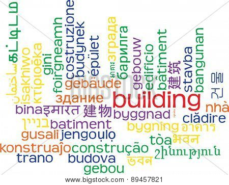 Background concept wordcloud multilanguage international many language illustration of building