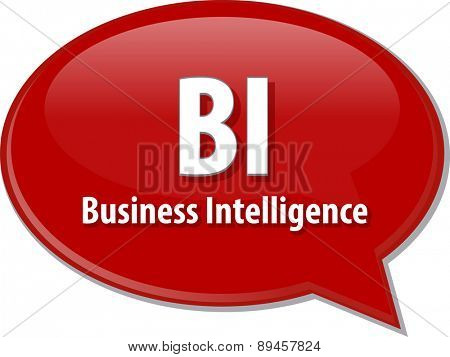 word speech bubble illustration of business acronym term BI Business Intelligence