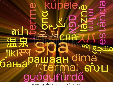 Background concept wordcloud multilanguage international many language illustration of spa glowing light