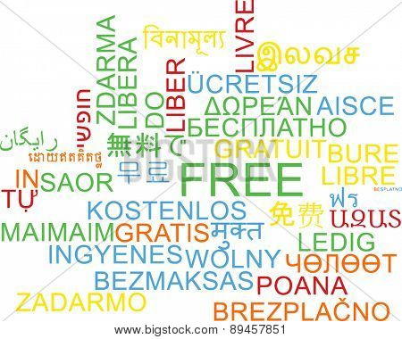 Background concept wordcloud multilanguage international many language illustration of free