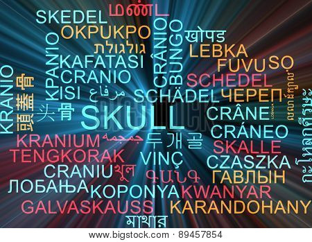Background concept wordcloud multilanguage international many language illustration of skull glowing light