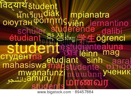 Background concept wordcloud multilanguage international many language illustration of student glowing light