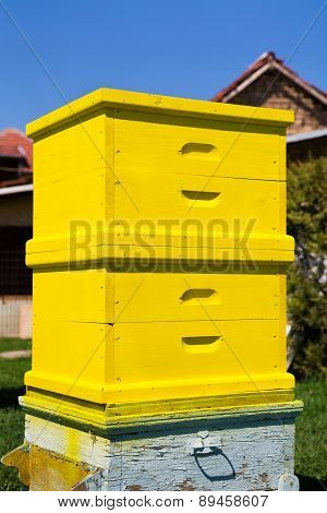 Yellow Wooden Freshly Painted Beehive