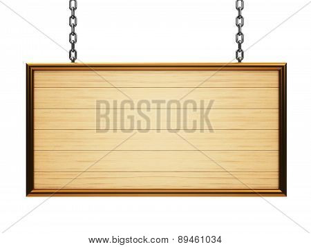 Wooden Rectangle Signboard On Chain