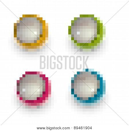 Pixel Techno Balls Icon Green Orange Pink And Blue
