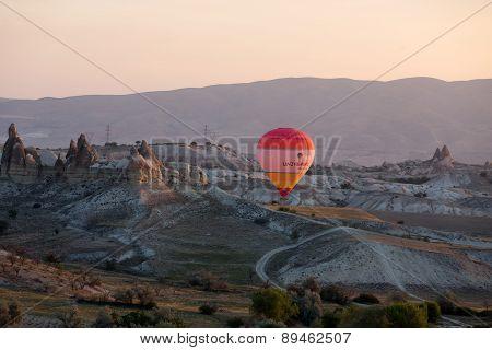 Hot Air Baloon over Cappadocia at sunrise. Turkey