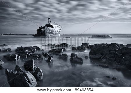 Old Shipwreck Long Exposure On Rocks At Sunset Artistic Conversion
