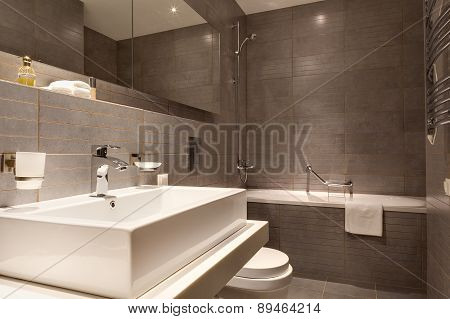 BATUMI, GEORGIA - APRIL 04, 2015: Bathroom inGolden Palace Batumi apartment, Batumi in Georgia on Ap