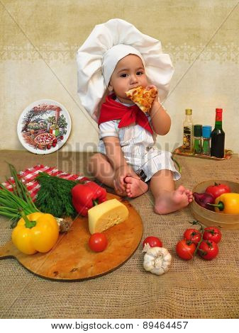 Baby Boy Dressed As A Cook