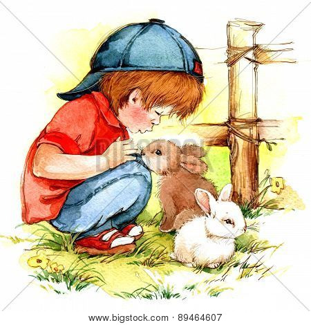 Baby Boy And Bunny. Watercolor