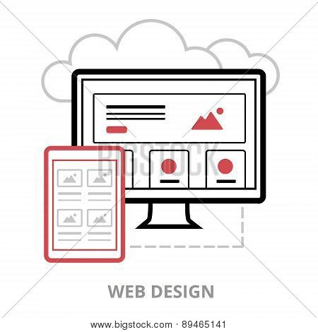 Business icons. Web design. Flat vector illustration. Outlined IT icon for web site.