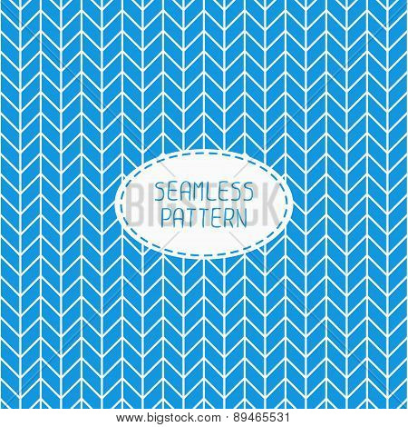 Blue geometric seamless pattern with chevron. Paper for scrapbook. Vector background. Tiling. Stylis