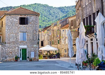 Stone Streets Of Stari Grad On Hvar Island