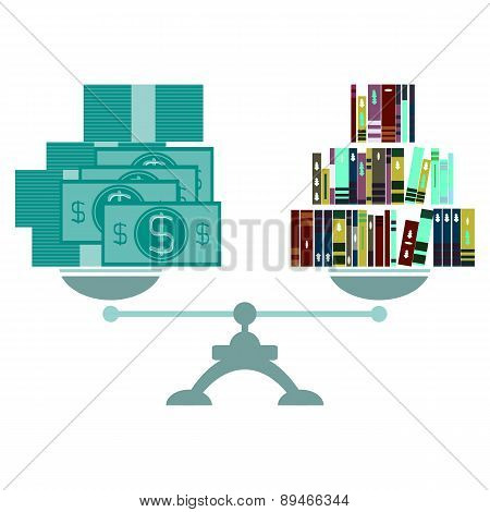 Vector Concept Of Investment In Education With Paper Money Books And Scales
