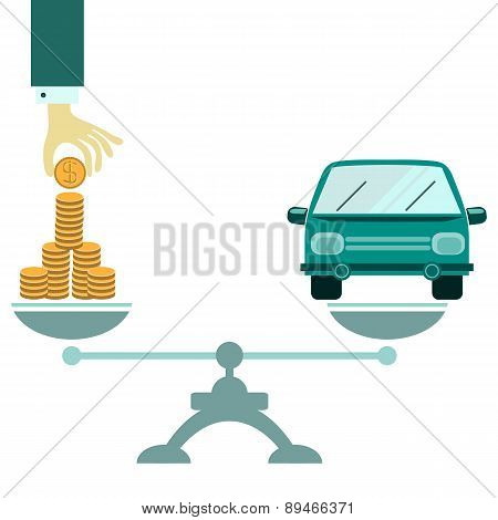 Vector Concept Of Investment In Individual Transport Like Passenger Car
