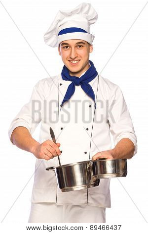 Smiling Cook Chef With Kitchenware