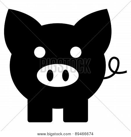 Black Piggy Bank Isolated On White Background. Concept Of Banking, Deposit, Richness And Saving Mone