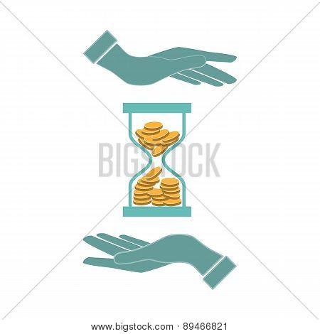 Money Concept Design Time Is Money,  Infographics Design, Hands, Vector Illustration