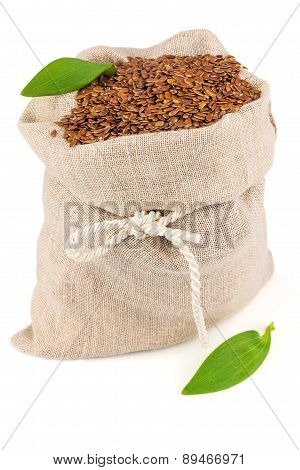 Sack Of Flax Seeds With Leaves