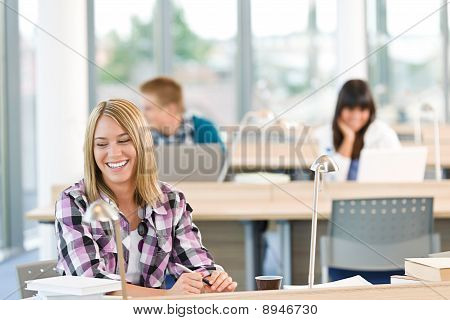 Happy Smiling Student Study In Classroom