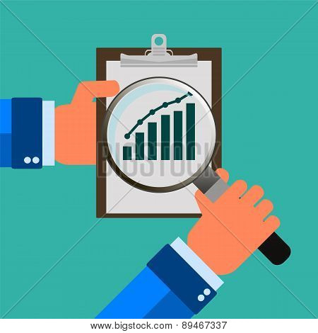 Flat Design Style Modern Vector Illustration Concept Of Businessman Hands Holding Magnifier And Anal