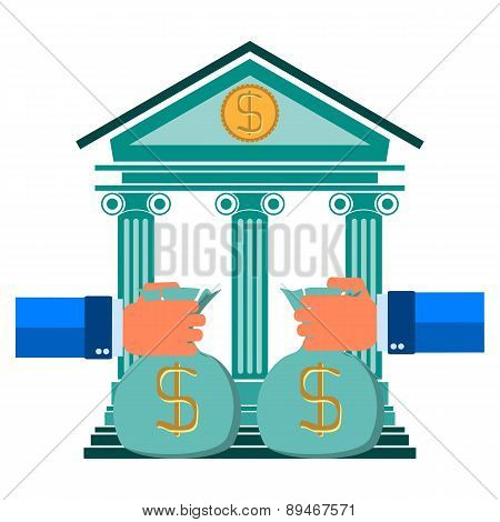 Contribution To The Bank's Hand With Money, Vector Bank Concept In Flat Style - Money Savings