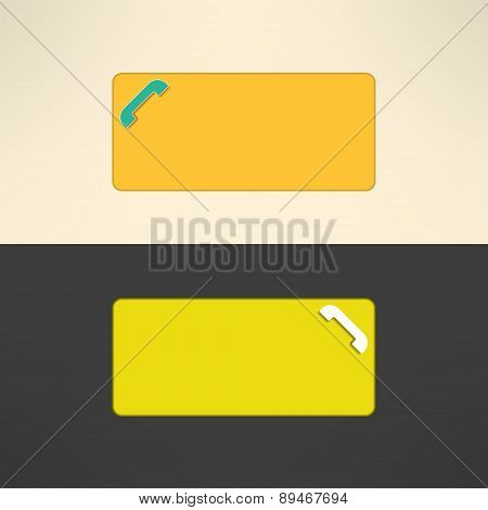 Call center banner. Internet phone service button. Vector illustration